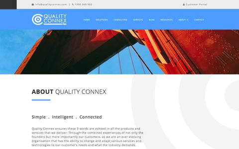 Screenshot of About Page qualityconnex.com - About Quality Connex - captured Dec. 9, 2015