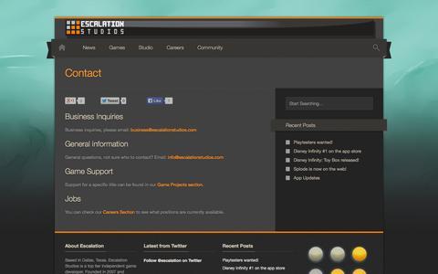 Screenshot of Contact Page escalationstudios.com - Contact – Escalation Studios - captured Sept. 30, 2014