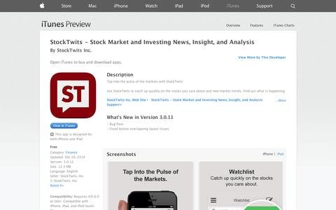 Screenshot of iOS App Page apple.com - StockTwits - Stock Market and Investing News, Insight, and Analysis on the App Store on iTunes - captured Oct. 22, 2014