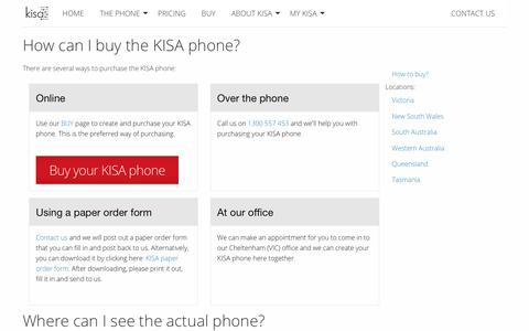Screenshot of Locations Page kisaphone.com.au - KISA phone is the ultimate simple phone! - captured Oct. 15, 2018