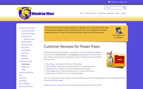 Screenshot of Testimonials Page woodrowwear.com - Traction for Dogs Slipping on Floor & Dogs with Hip Problems | Woodrow Wear - captured Oct. 26, 2014