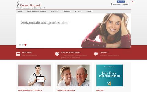Screenshot of Home Page rugzorg.nl - Orthomanuele therapie Lelystad & Zwolle - Keizer Rugpoli - captured Aug. 10, 2017