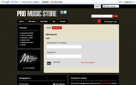 Screenshot of Login Page promusicstore.nl - Mijn Account - ProMusicStore.nl - captured Oct. 27, 2014