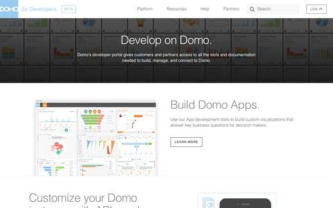 Screenshot of Developers Page domo.com - Domo for Developers - captured March 23, 2016