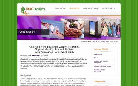 Screenshot of Case Studies Page rmc.org - Case Studies - captured Oct. 6, 2014