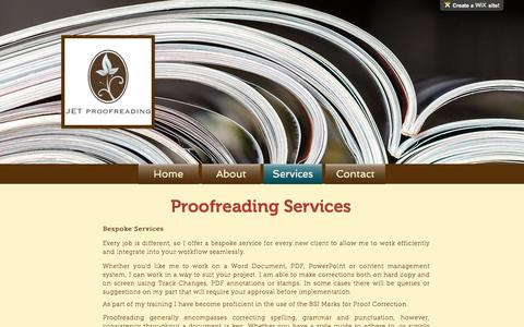 Screenshot of Services Page jetproofreading.co.uk - Business Proofreading Services | Somerset | JET Proofreadings - captured May 27, 2017