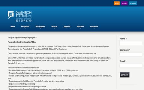 Screenshot of Jobs Page dsisys.com - Careers | Dimension Systems - captured Nov. 24, 2016