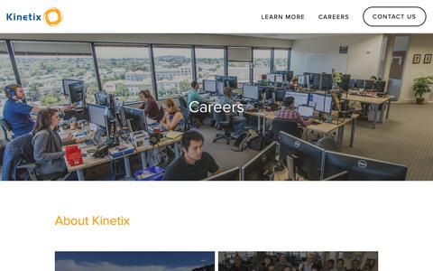Screenshot of Jobs Page kinetix.com - Careers — Top Managed IT Services & Outsourced Help Desk Provider │Kinetix - captured Oct. 15, 2018