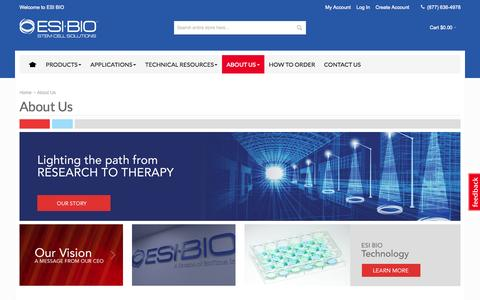Screenshot of About Page esibio.com - About ESI BIO - your stem cell research partner - captured June 16, 2015