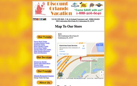 Screenshot of Maps & Directions Page discountorlandovacation.com - Map To The Store - captured March 11, 2016