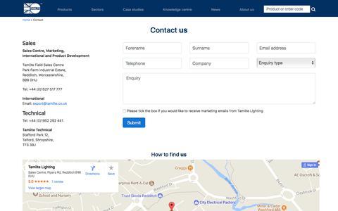 Screenshot of Contact Page tamlite.co.uk - Contact   Tamlite Lighting United Kingdom - captured Nov. 14, 2017