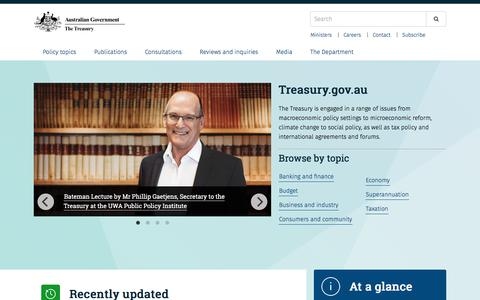 Screenshot of Home Page treasury.gov.au - Treasury.gov.au – The Treasury is engaged in a range of issues from macroeconomic policy settings to microeconomic reform, climate change to social policy, as well as tax policy and international agreements and forums. - captured Sept. 24, 2018