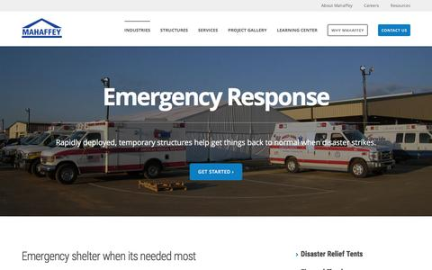 Screenshot of mahaffeyusa.com - Emergency Response - captured March 20, 2016
