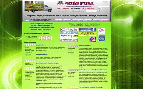 Screenshot of Testimonials Page prestigesystems.net - Best reviews in town Prestige Systems Carpet &  Furniture Cleaning & 24 Hours Emergency Water Damage Restoration 803-356-1660 - captured Jan. 30, 2016