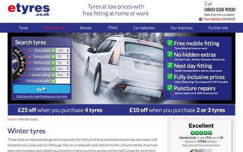 Screenshot of etyres.co.uk - Buy Cheap Winter Tyres With Free Mobile Fitting - etyres - captured Feb. 27, 2017