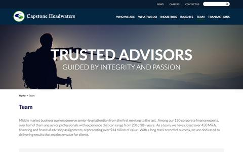 Screenshot of Team Page capstoneheadwaters.com - Team | Capstone Headwaters - captured July 17, 2018