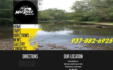 Screenshot of Maps & Directions Page madriveradventuresltd.com captured Sept. 30, 2014