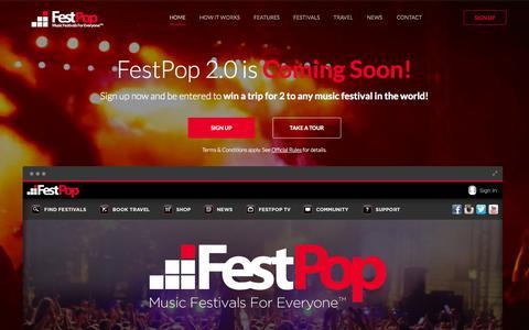 Screenshot of Home Page festpop.com - FestPop | The Easiest Way to Book Music Festival Travel - captured Oct. 5, 2014