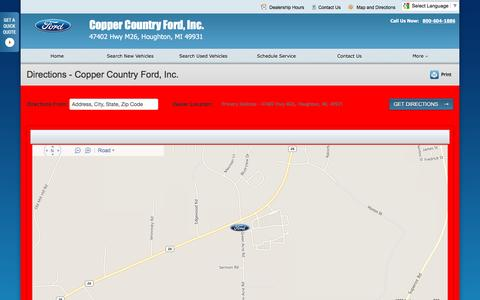 Screenshot of Maps & Directions Page coppercountryfordhoughton.com - Directions at Copper Country Ford, Inc. - Your Houghton, Michigan Ford dealer - captured June 20, 2016