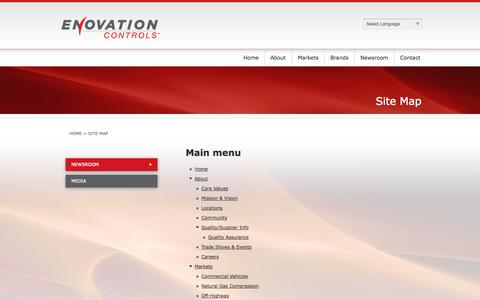 Screenshot of Site Map Page enovationcontrols.com - Site Map | Enovation Controls - captured Oct. 3, 2014