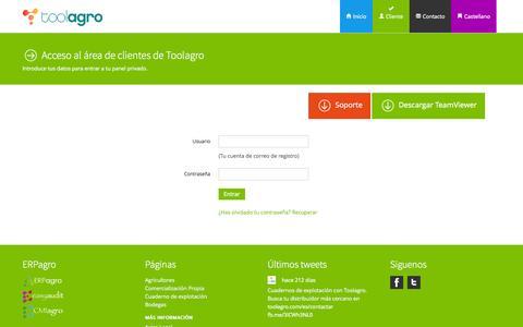 Screenshot of Login Page toolagro.com - Acceso al área de clientes de Toolagro  - Toolagro - captured Oct. 1, 2014