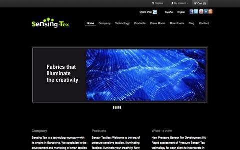 Screenshot of Home Page sensingtex.com - Sensing Tex Smart Textiles - captured Jan. 22, 2015