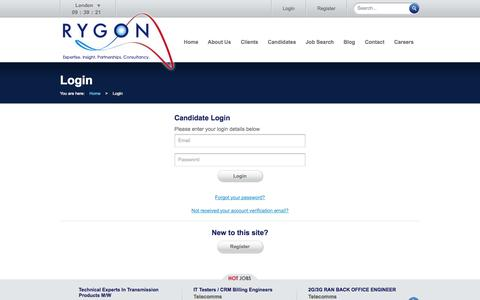 Screenshot of Login Page rygoncorp.com - Login :: Rygon :: Expertise. Insight. Partnerships. Consultancy. - captured Oct. 7, 2014
