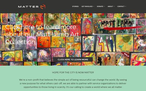 Screenshot of Home Page mattermore.org - Matter - captured Oct. 6, 2014