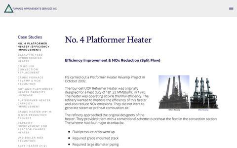 Screenshot of Case Studies Page heatflux.com - No. 4 Platformer Heater (Efficiency Improvement & NOx Reduction) — Furnace Improvements Services Inc. - captured Oct. 11, 2018