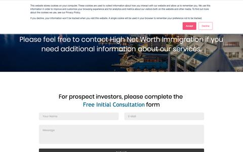 Screenshot of Contact Page Locations Page high-net-worth-immigration.com - Contact High Net Worth Immigration - captured Nov. 5, 2018
