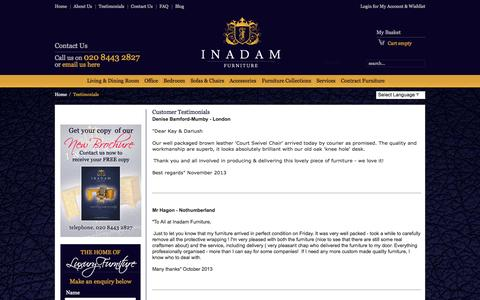 Screenshot of Testimonials Page inadamfurniture.co.uk - Customer Testimonials - captured Sept. 30, 2014