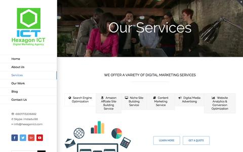 Screenshot of Services Page hexagonict.com - Services - Hexagon ICT - captured May 19, 2017