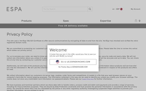 Screenshot of Privacy Page espaskincare.com - Cookie Information | ESPA - captured Sept. 22, 2017