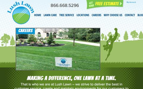 Screenshot of Jobs Page lushlawn.com - Careers - Lawn Care Employment | Lush Lawn - captured July 24, 2018