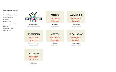 Screenshot of Services Page lesvivaces.org - Coop les ViVaces - captured Sept. 29, 2018