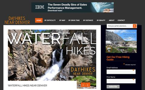 Screenshot of Home Page dayhikesneardenver.com - Day Hikes Near Denver - Explore The Best Hikes In Colorado - captured Sept. 7, 2015