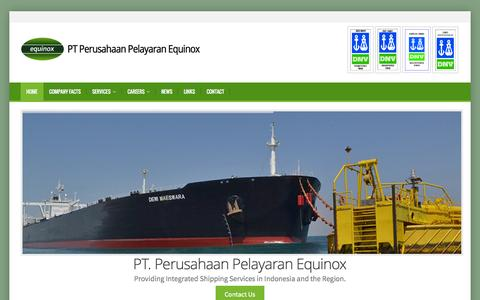 Screenshot of Home Page ppequinox.com - Shipping company in Indonesia - captured Oct. 1, 2014