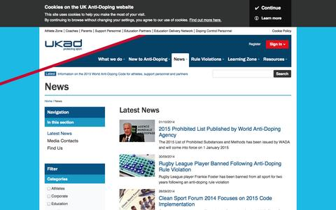 Screenshot of Press Page ukad.org.uk - Latest news from UK Anti-Doping - captured Oct. 3, 2014