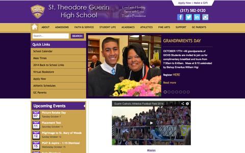 Screenshot of Home Page guerincatholic.org - Guerin Catholic High School - Guerin Catholic High School - captured Oct. 7, 2014