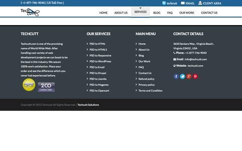 Screenshot of Services Page techcutt.com - Services » Techcutt - PSD to HTML, PSD to HTML5, Magento, Wordpress, Responsive - captured Oct. 26, 2014