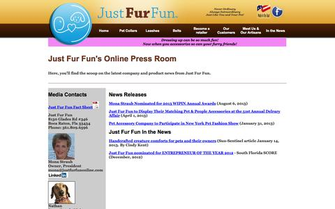 Screenshot of Press Page justfurfunonline.com - Just Fur Fun - Meet the Owner and Major Contributors - captured Oct. 6, 2014