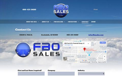 Screenshot of Contact Page fbosales.com - FBO Sales Contact Information - captured Aug. 9, 2018