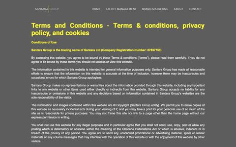 Screenshot of Terms Page santaragroup.com - Terms & Conditions  - Santara Group - Global Talent and Marketing Agency - captured July 27, 2018