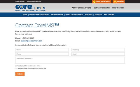 Screenshot of Contact Page coreims.com - Contact CoreIMS™ for Inventory Solutions - CoreIMS™ - captured Sept. 29, 2018