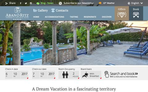 Screenshot of Home Page hotelabanoritz.com - Abano Terme Hotel AbanoRITZ Spa & Wellfeeling Resort Venice 5* - captured Oct. 7, 2017