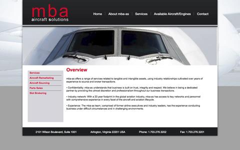 Screenshot of Services Page mbaas.aero - mba aircraft solutions - Offered Services - captured Oct. 3, 2014
