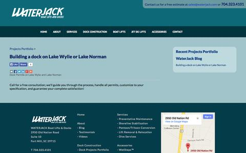 Screenshot of Blog waterjack.com - For Lake Norman and Lake Wylie Dock Construction WATERJACK Boat Lifts and Docks provides custom boat lifts, dock construction, jet ski lifts, boat covers, boat lift and dock repair and relocation, service and accessories around Lake Norman, Lake Wyli - captured Oct. 27, 2014