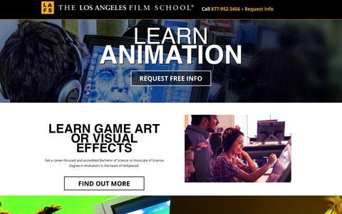 Screenshot of Landing Page lafilm.edu - go.lafilm.edu  Animation - go.lafilm.edu - captured Aug. 3, 2016