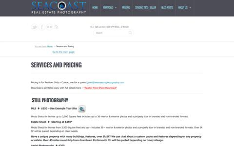 Screenshot of Pricing Page seacoastrephotography.com - Seacoast Real Estate Photography & Video Tour Pricing and Services NHSeacoast Real Estate Photography & HD Video Tours - captured Oct. 3, 2014