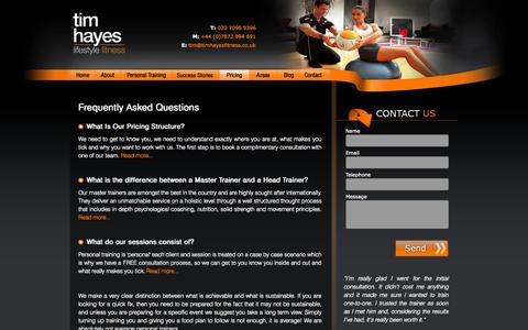Screenshot of FAQ Page timhayesfitness.co.uk - Personal Trainer London Prices - Tim Hayes Lifestyle Fitness Pricing Information - captured Oct. 7, 2014